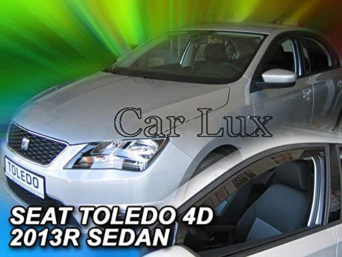 Car Lux AR04412 - Derivabrisas Deflectores de Aire Cortavientos de Ventanillas Delanteros para Toledo a Partir de 2013-