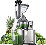 Entsafter AICOOK, 3-In-1-Slow Juicer für Gemüse und Obst, Babynahrung und Eiscreme, 75 mm Wide Mouth, Weniges Geräusch&Saftrezepte,&Vorreinigung, Vertikal