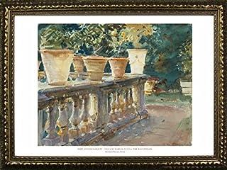 Framed Villa Di Marlia, The Balustrade by John Singer Sargent 24x36 Art Print Poster Famous Painting Landscape Flower Pots...