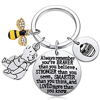 Inspired by Classic Winnie The Pooh Gifts You are Braver Than You Believe Bee Hunny Pooh Bear Charm Keychain Inspirational Jewelry for Women Girls