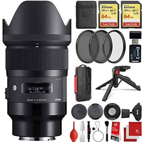 Sigma 35 mm f/1.4 Art DG HSM Objektiv Sony E-Mount Bundle mit 2 x 64 GB Speicherkarten, IR-Fernbedienung, 3-teiliges Filterset, Handschlaufe, Kartenleser, Speicherkarten-Etui, Tischstativ