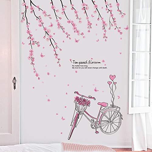 Ballet etiqueta de la pared de dibujos animados chica y melocotón Flores de bicicletas, PVC extraíble Inicio del cartel del arte, for la sala de jardín de infancia niña Decoración Sala de juegos con d