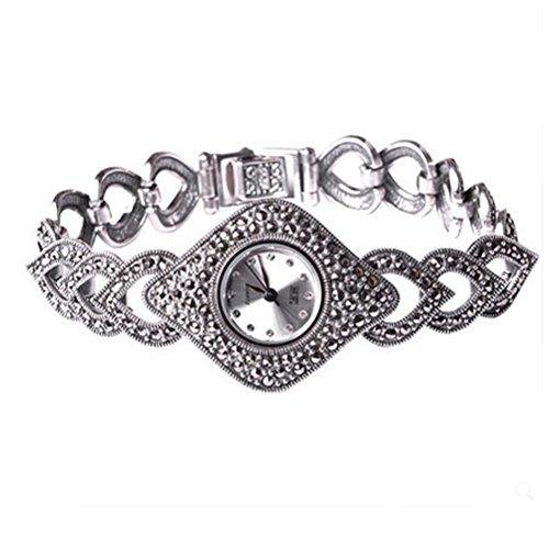 Plata de ley Marcasita Thail Mujer Antiguo Reloj mujer joyas