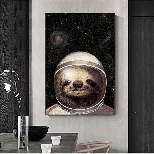 YIYEBAOFU DIY Malen nach Zahlen Europäisches nordisches Retro-Tier gedruckt auf dem Wohnzimmerspiegel an der Wand des Astronautenkostüms40x60cm(Kein Rahmen)
