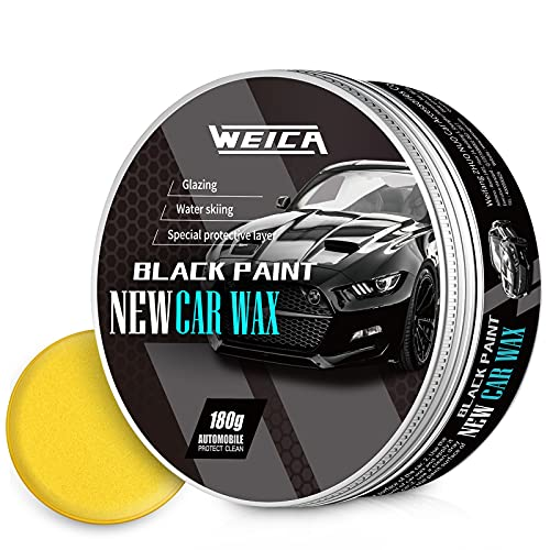 WEICA Car Wax Black Solid for Black Cars, Carnauba Car Wax Kit Cleaner, Car Waxing Scratch Resistance Auto Ceramics Coating 180g with Free Waxing Sponge and Towel-Black