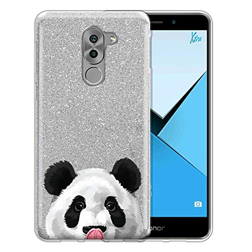 FINCIBO Case Compatible with Huawei Honor 6X/ Mate 9 Lite 5.5 inch, Shiny Sparkling Silver Bling Glitter TPU Protector Cover Case for Honor 6X - Baby Panda Bear