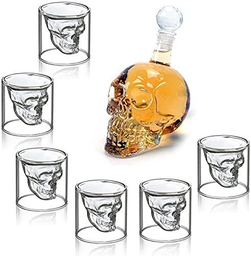 Carafe à Whisky Tête de Mort , Carafe à Whisky Transparente avec 6 Verres à Shot, Ensemble Verres Shooter et Bouteille Crâne pour Vodka, Whisky, Fête, Bar, Dîner, Cadeaux pour homme