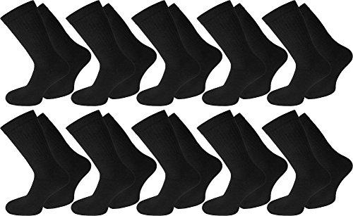normani 20 Paar Arbeits- Freizeit - Sportsocken Tennissocken in Schwarz oder Weiß Farbe Schwarz Größe 43/46