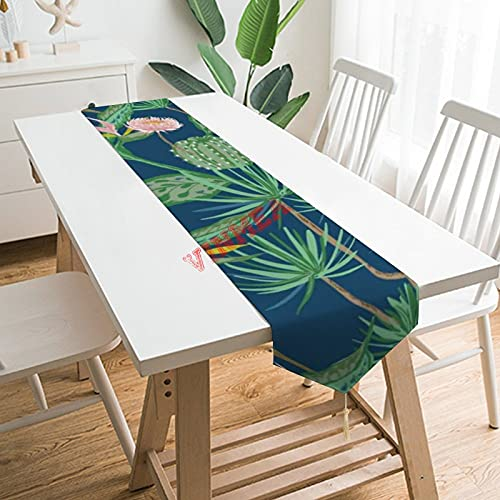 Camino de mesa bufandas, cacto del desierto, flores rosadas, palmeras, camino de mesa para el hogar, cocina, cena, boda, eventos, decoración, 13 x 200 cm