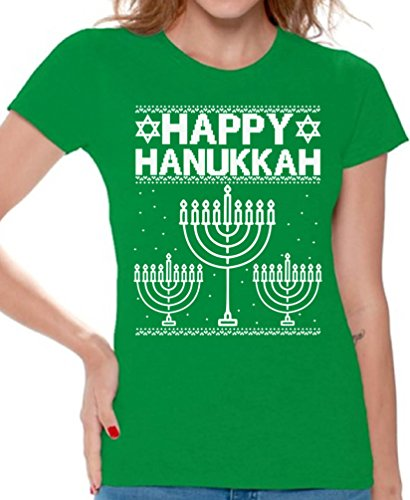Awkward Styles Happy Hanukkah Shirt Women's Hanukkah Shirt Jewish Holiday Tshirt Green L
