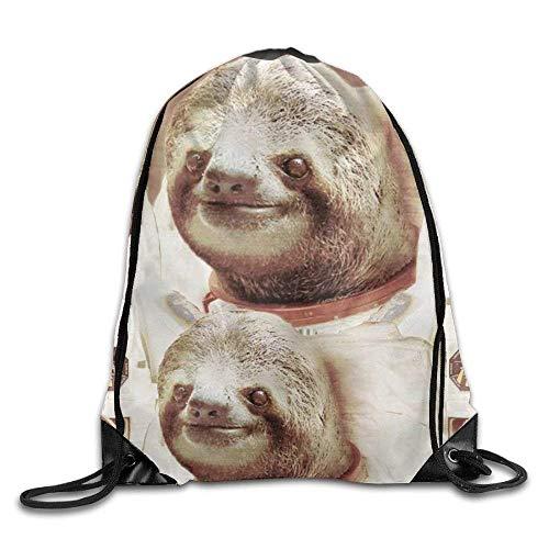 Etryrt Prämie Turnbeutel,Sporttaschen, Drawstring Bags Gym Bag Travel Backpack Funny Astronaut Sloths Mini Backpacks for Boys Girls 16.9x14.2