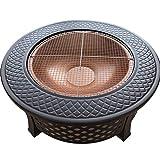 XIONGSHI 31.8in Fire Pit Table Outdoor, Multifuncional Patio Trasero Jardín Chimenea Calentador/BBQ/Ice Pit, Estufa Cuadrada con Estante para Parrilla de Barbacoa y Cubierta Impermeable