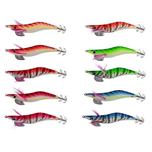 LSHEL 10 esche da pesca finte, colorate, fosforescenti, per acqua salata, per calamari, seppie, polpi, a forma di gambero