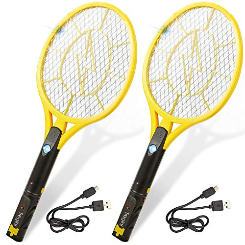 Tregini Large Electric Fly Swatter 2 Pack – Rechargeable Bug Zapper Tennis Racket with Safe to...