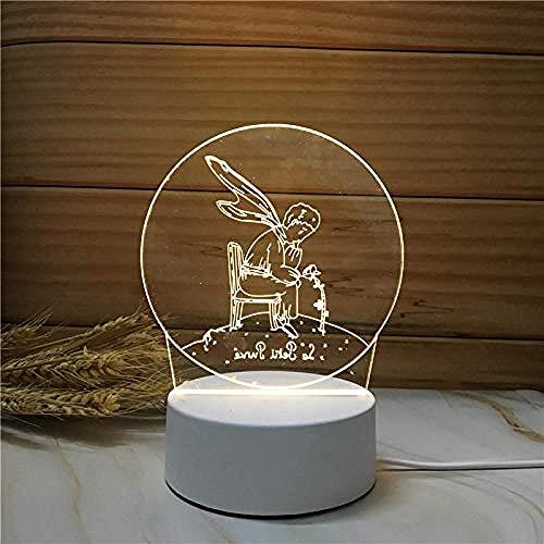 wangzj Night Lights Luces de la habitación Lámpara de regalo-Prince Lámpara de mesita de regalo Regalo 3D Cuidado de los ojos El mejor regalo Arte y manualidades ideales