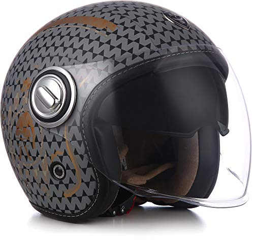 Soxon SP-888 Motorrad-Helm Roller-Helm, ECE Sonnenvisier Schnellverschluss SlimShell Tasche, M (57-58cm), Sir Night