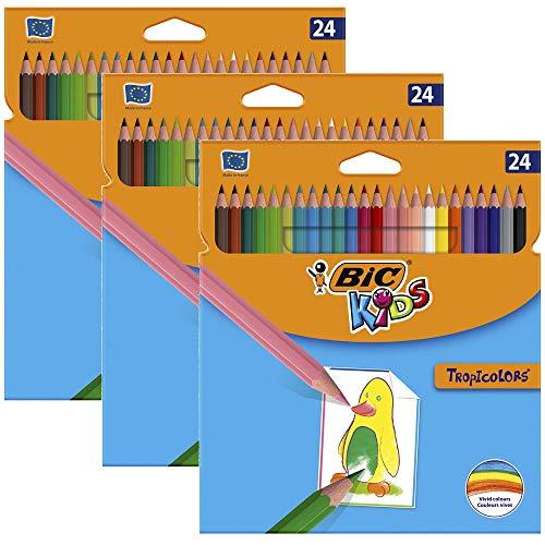 BIC Kids Tropicolors, Buntstifte Set mit 24 Stiften im Kartonetui (3x 24er Kartonetui)