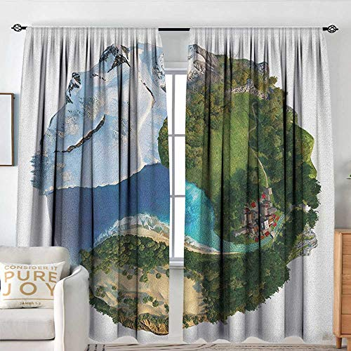 Bathroom Curtains Earth,Conceptual Globe Diverse Natural Landscapes ICY Frozen Green and Barren Places, Green White Blue,Drapes Thermal Insulated Panels Home dcor 72