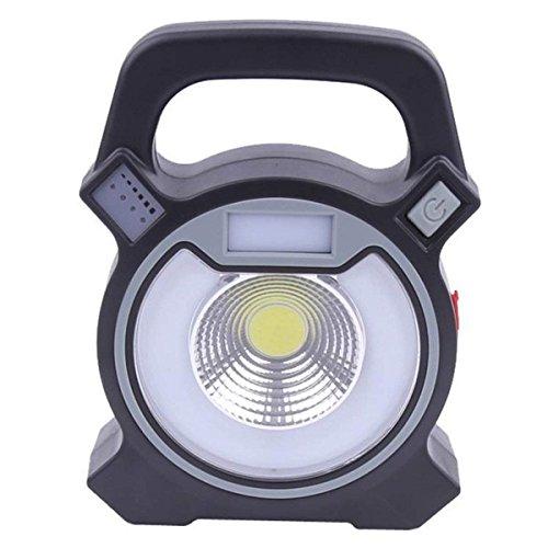 SUAVER 30W Portable Lampe de Travail USB Rechargeable Lampe COB Torche Lampe de Poche LED Camping Lampe avec la Banque de Puissance du Port USB et Le Mode SOS d'urgence (Gris)