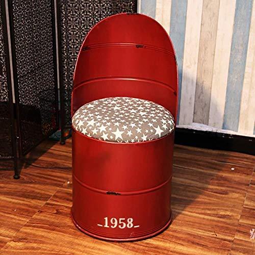 Stuhl Bürostuhl Bar Restaurant Stuhl Retro Bar Stuhl, Schmiedeeisen Ölfass Hocker Farbe Bench Restaurant Tin Bucket Kaffeemaschine Sessel Lagerung Hocker 44cm Geeignet for 80 cm Theke ( Color : Red )