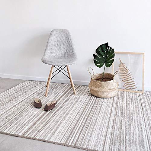 HM&DX Gestreift Teppich Vorleger Baumwoll-Polyester Bettvorleger Weich Japanischer Stil Bodenteppichmatte Modern Dekorative Yogamatte Spielen A 120x180cm(47x71in)
