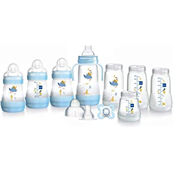MAM Easy Start Self Sterilising Anti Colic Starter Set, Newborn Bottle Set and Soother, Newborn Essentials, Blue (Designs May Vary)
