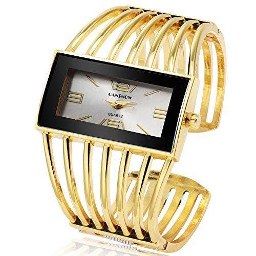 Women Luxury Cuff Bracelet Rectangular Dial Hollow Analog Quartz Wrist...