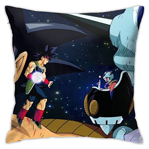 Funda de almohada CVDGSAD Bardock Frieza Dragon Ball Z Kai Dragon Ball Zanime Anime Boysfan Art, 45,7 x 45,7 cm, funda de cojín decorativa para el hogar