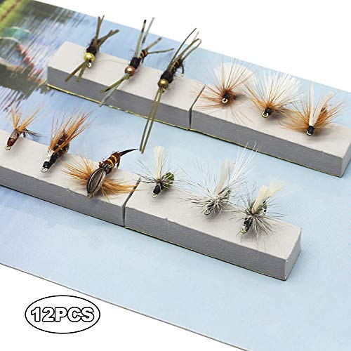 Fly Fishing Trout Flies Kit 12pcs Fly Fishing Lure for Trout Premium Dry Wet Flies Streamer Nymph Mayfly Emerger Flys Trout Fly Fishing Gear Bait Assorted