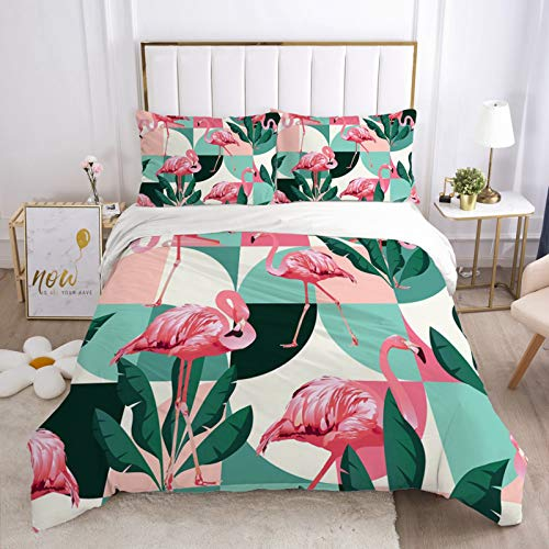 YZDM - Funda de edredón para niñas, diseño tropical de Flamingo en 3D, diseño de flores, funda de edredón, para cama nórdica, 220 x 240 cm