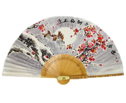 Antique Alive Peinte à la Main Pliable UME Fleur Under Snow in The Night Peinture coréen Mulberry Papier de Riz en Bambou Art Handheld éventail décoratif