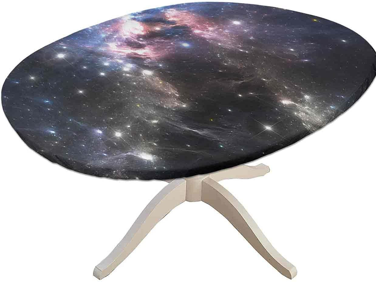 DESPKON Constellation Decorative Elastic Edged Oval Fitted Table Colth, Vivid Supernova Fitted Table Cover, Fits Oval Tables 36