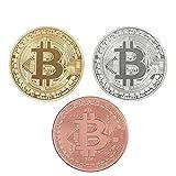 Bitcoin desafío moneda Classic Set de coleccionista | la edición limitada original dorado y bañado en plata y hecho de cobre rojo puro conmemorativa fichas w/una pantalla de plástico caso (Set de 3)