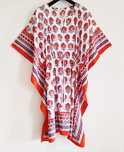 Orange Persian Floral Anokhi Hand block Print Indian cotton Kaftan Tunic top One size