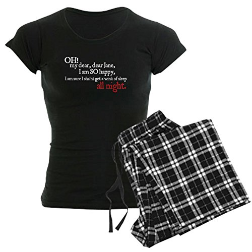 CafePress Jane Austen Sleep A Wink Women's Dark Pajamas Womens Novelty Cotton Pajama Set, Comfortable PJ Sleepwear