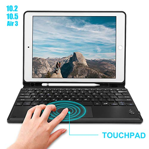 """Touchpad Keyboard Case for iPad 10.2 7th Gen Keyboard Case 2019/iPad Air 3/iPad 10.5 2017 Touchpad Keyboard Bluetooth Slim Leather Folio Smart Cover with Pencil Holder for iPad 10.2"""" 10.5""""-Black"""