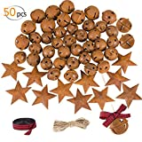 Alphatool 50Pcs Rusty Metal Jingle Bells and Stars- Star Cutout Christmas Sleigh Bells 30pcs 1inch and 10pcs 1.2inch Bells, 10pcs 1.8inch Stars with Twine Plaid Ribbon for Xmas Holiday Decor DIY Craft