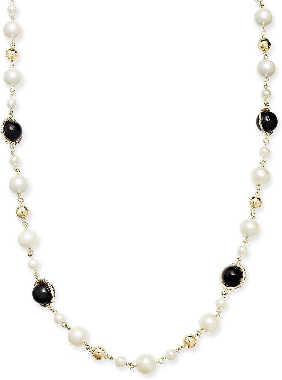 Charter Club Gold-Tone Pavé, Imitation Pearl & Bead Strand Necklace, 42