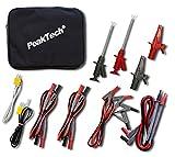 PeakTech 8200 - Juego de Accesorios de Medición para Multímetro Digital, Cables de Prueba, Pinzas de Cocodrilo, con Batería - 14 Piezas, Bolsa Incluida