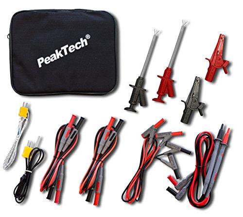 Peak Tech P 8200 – Messzubehör Set für Digital Multimeter, Prüfkabel Set, Elektronik Sortiment mit Prüfkabel, Laborleitungen, Messleitungen, Krokodilklemmen, batteriebetrieben - 14-teilig inkl. Tasche