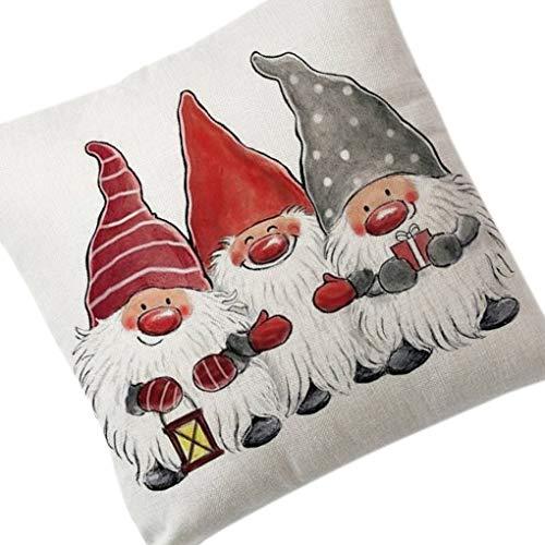 Navidad Algodón Lino Funda de Almohada muñeco de Nieve de Santa Impresión Cama Decoración Cojín Shell Decoración de Navidad