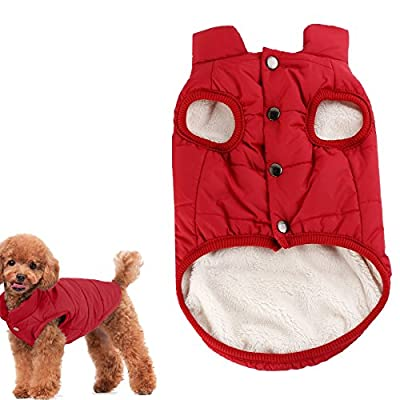Kismaple Dog Cosy Fleece Jacket Winter Lined Coat Clothes Warm Padded Vest for Medium Dogs Clothing Red (M:12.5 inches Length)