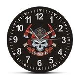 Reloj de Pared Calavera de Bombero con Ejes Cruzados Reloj de Pared silencioso sin tictac Cruz de Malta Calavera de Bomberos Signo del Departamento de Bomberos Reloj de Pared