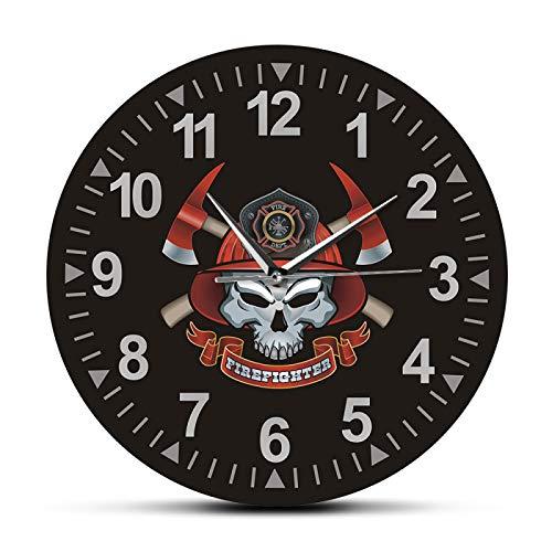 Relojes de Pared Calavera de Bombero con Ejes Cruzados Reloj de Pared silencioso sin tictac Cruz de Malta Calavera de Bomberos Signo del Departamento de Bomberos Reloj de Pared