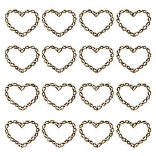 Garneck 100 stks Hart Hangers Decoratieve Druppels Bedels voor het maken van Choker Ketting Armband Oorbellen Sieraden DIY Accessoires 3.2x2.5 cm gebronsd
