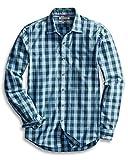 Goodthreads Men's Slim-Fit Long-Sleeve Gingham Plaid Poplin Shirt, Blue/Green, Large Tall