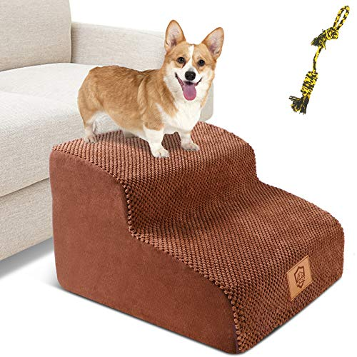 Pet Stairs, 2-Step Sponge Dog Steps for Dogs, Non-Slip High Density Foam Pet Ladder Stairs for Small Meduim Dogs and Cats (Send 1PC Dog Toy Rope)