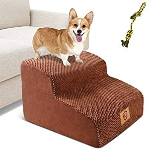 Pet Stairs, 2-Step Sponge Dog Steps for Dogs Non-Slip High Density Foam Pet Ladder Stairs for Small Meduim Dogs and Cats (Send 1PC Dog Toy Rope)