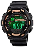 Mens Digital LED Sports Watch Military Multifunction Dual Time Alarm Countdown Stopwatch 12H/24H Time Backlight 164FT 50M Waterproof Calendar Month Day Date Watch (Black Gold)