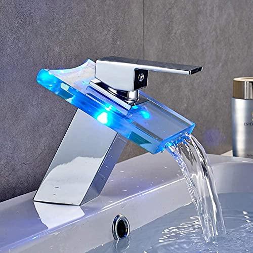 DHFUIH Moderno Cromado LED Lavabo de baño Grifo de Cascada y frío Control de Temperatura del Lavabo Debajo del mostrador Color Vidrio Iluminado Grifo de un Solo Orificio A Prueba de Herrumbre